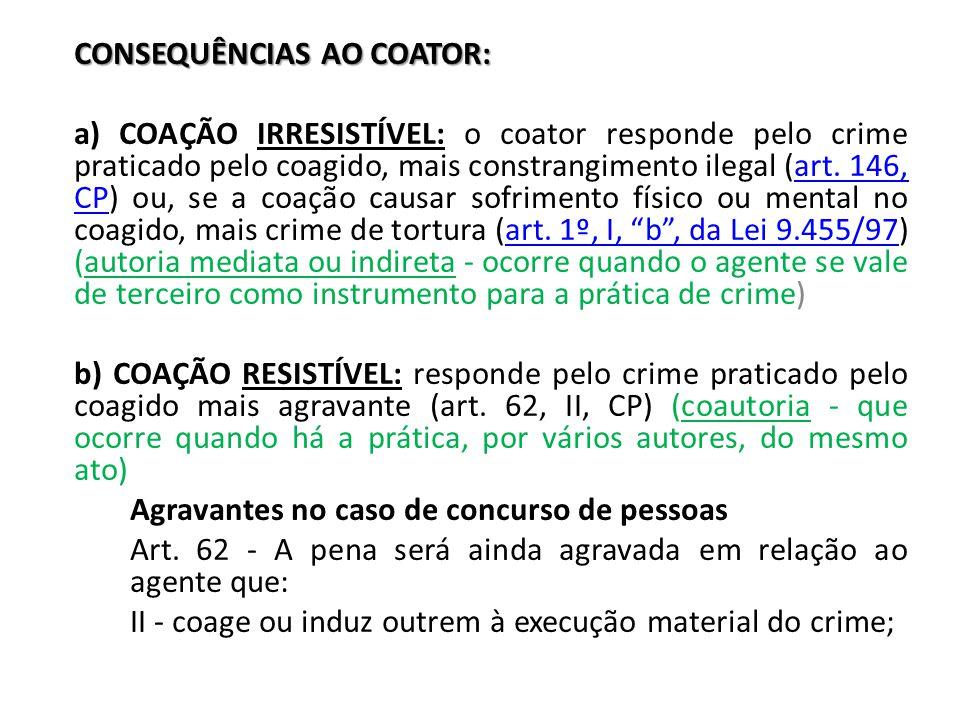 CONSEQUÊNCIAS AO COATOR: