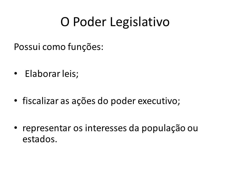 O Poder Legislativo Possui como funções: Elaborar leis;