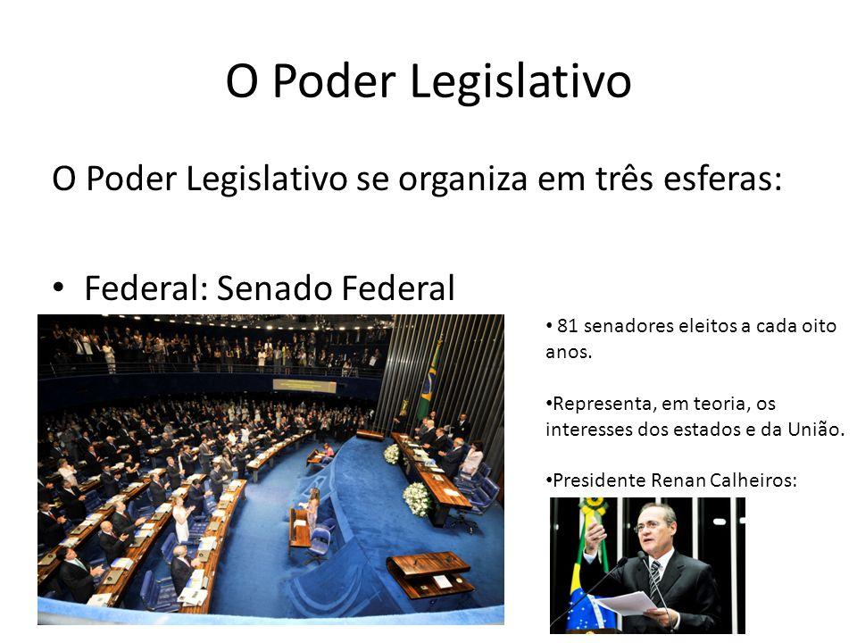 O Poder Legislativo O Poder Legislativo se organiza em três esferas: