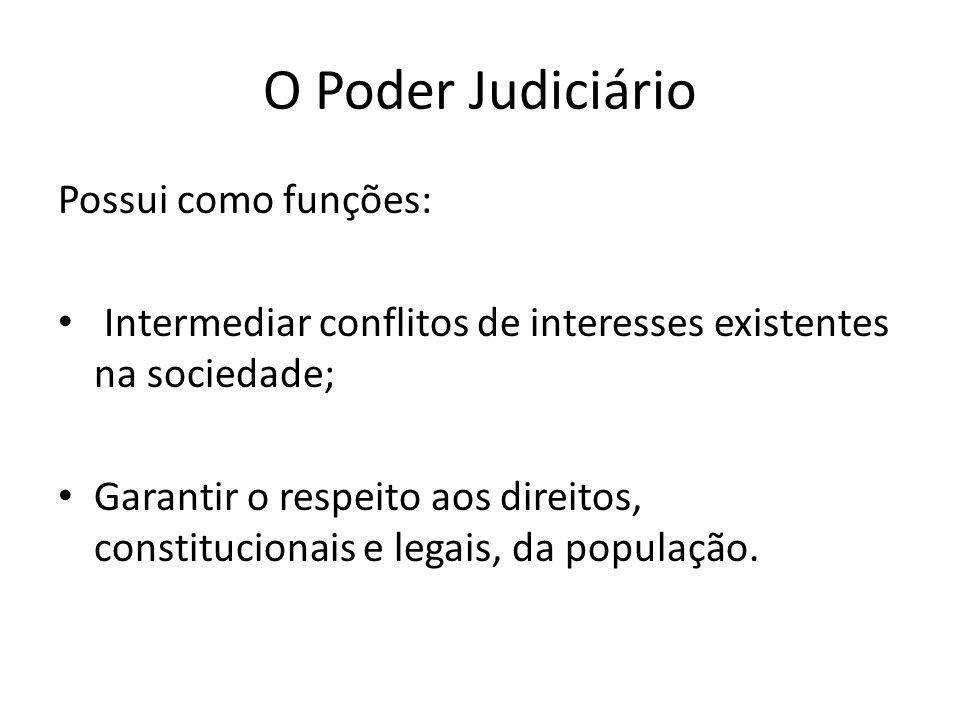O Poder Judiciário Possui como funções: