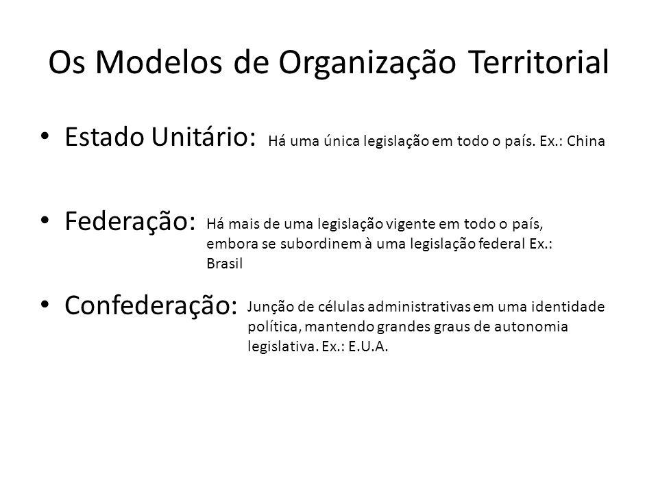 Os Modelos de Organização Territorial