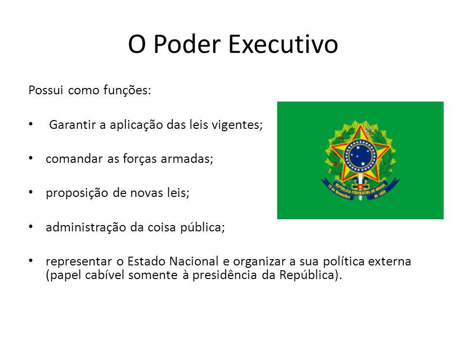 O Poder Executivo Possui como funções: