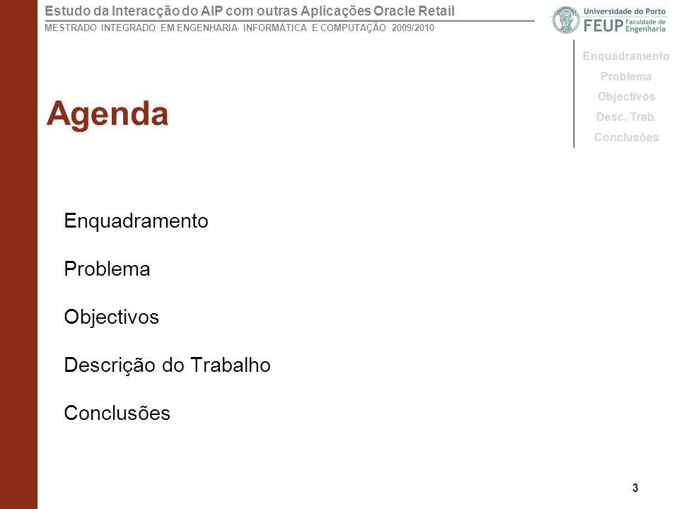 Agenda Enquadramento Problema Objectivos Descrição do Trabalho
