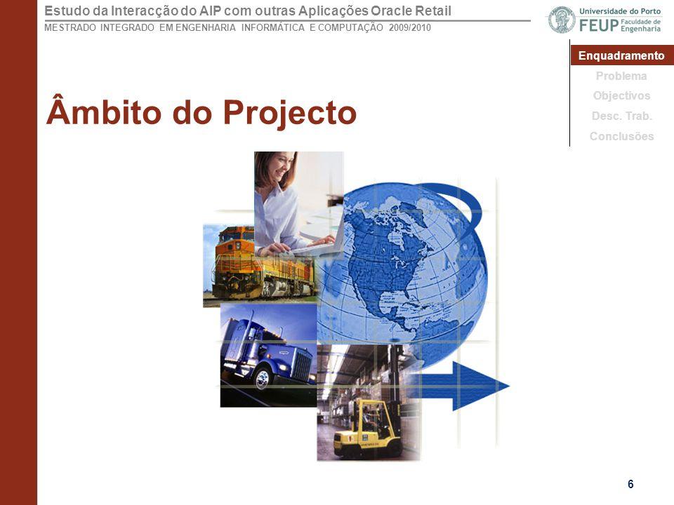 Âmbito do Projecto Enquadramento Problema Objectivos Desc. Trab.