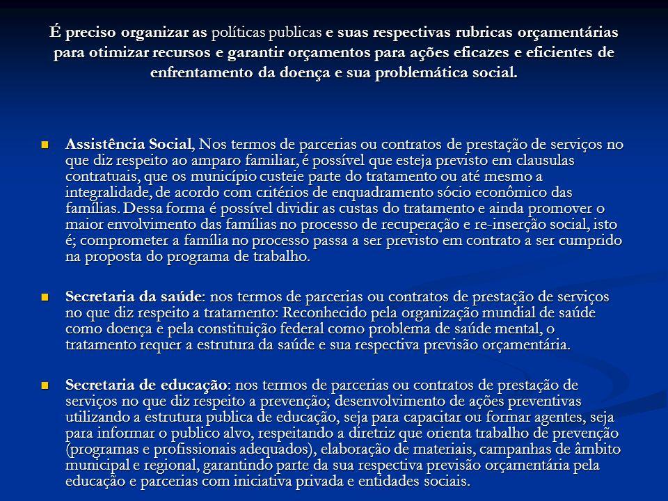 É preciso organizar as políticas publicas e suas respectivas rubricas orçamentárias para otimizar recursos e garantir orçamentos para ações eficazes e eficientes de enfrentamento da doença e sua problemática social.