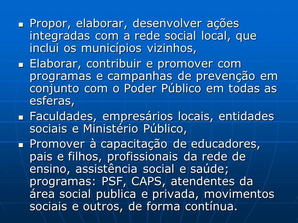 Propor, elaborar, desenvolver ações integradas com a rede social local, que inclui os municípios vizinhos,