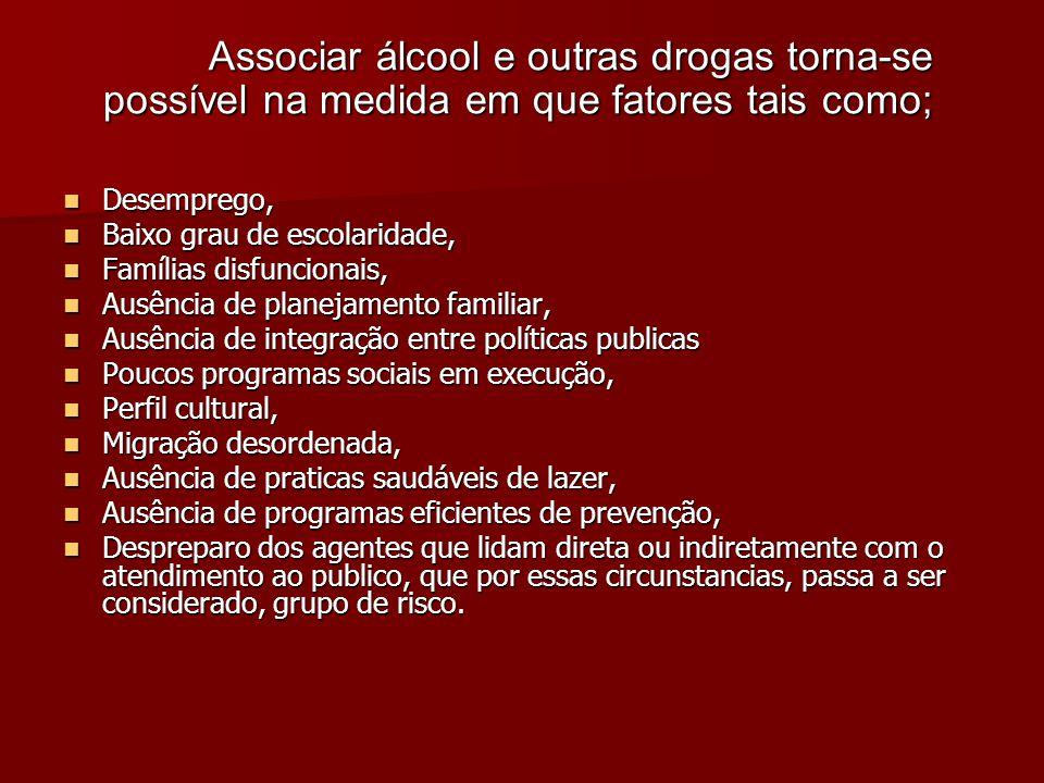 Associar álcool e outras drogas torna-se possível na medida em que fatores tais como;