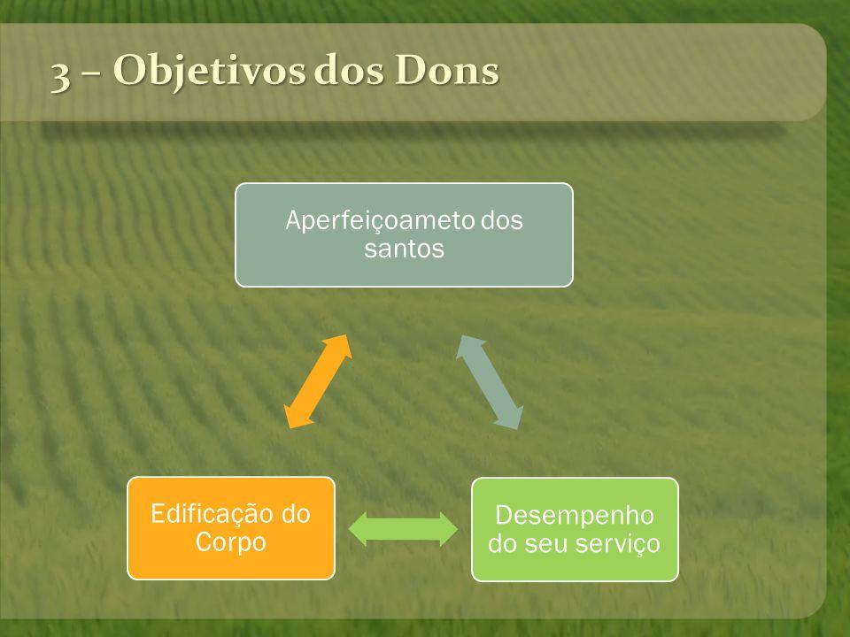 3 – Objetivos dos Dons Desempenho do seu serviço