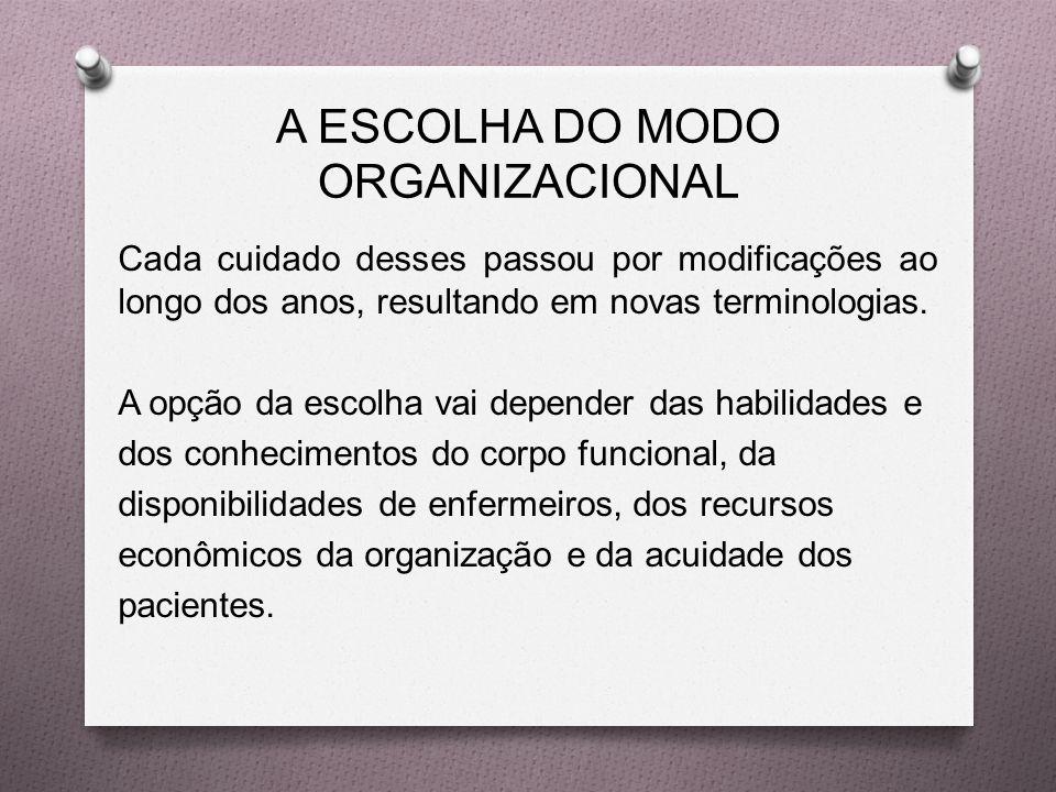 A ESCOLHA DO MODO ORGANIZACIONAL