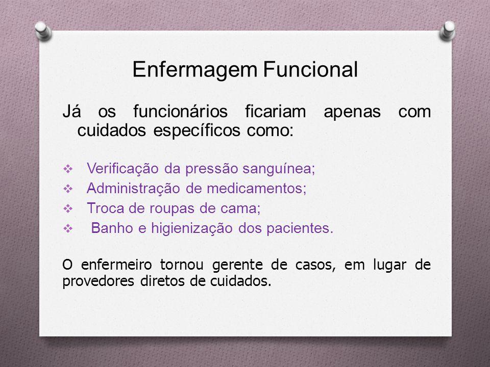 Enfermagem Funcional Já os funcionários ficariam apenas com cuidados específicos como: Verificação da pressão sanguínea;
