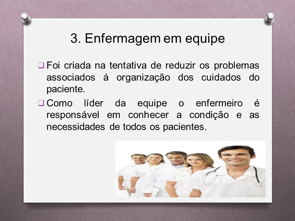 3. Enfermagem em equipe Foi criada na tentativa de reduzir os problemas associados á organização dos cuidados do paciente.