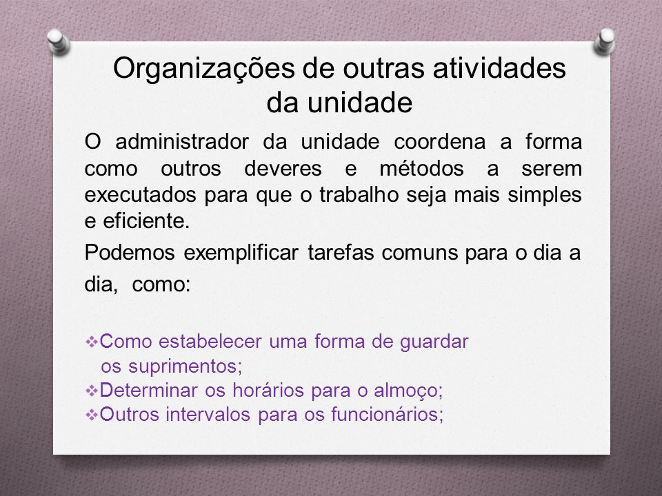 Organizações de outras atividades da unidade