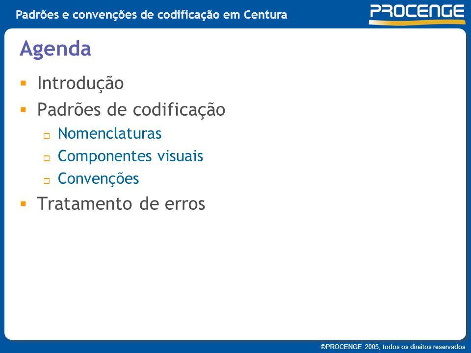 Agenda Introdução Padrões de codificação Tratamento de erros