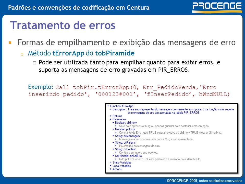 Tratamento de erros Formas de empilhamento e exibição das mensagens de erro. Método tErrorApp do tobPiramide.