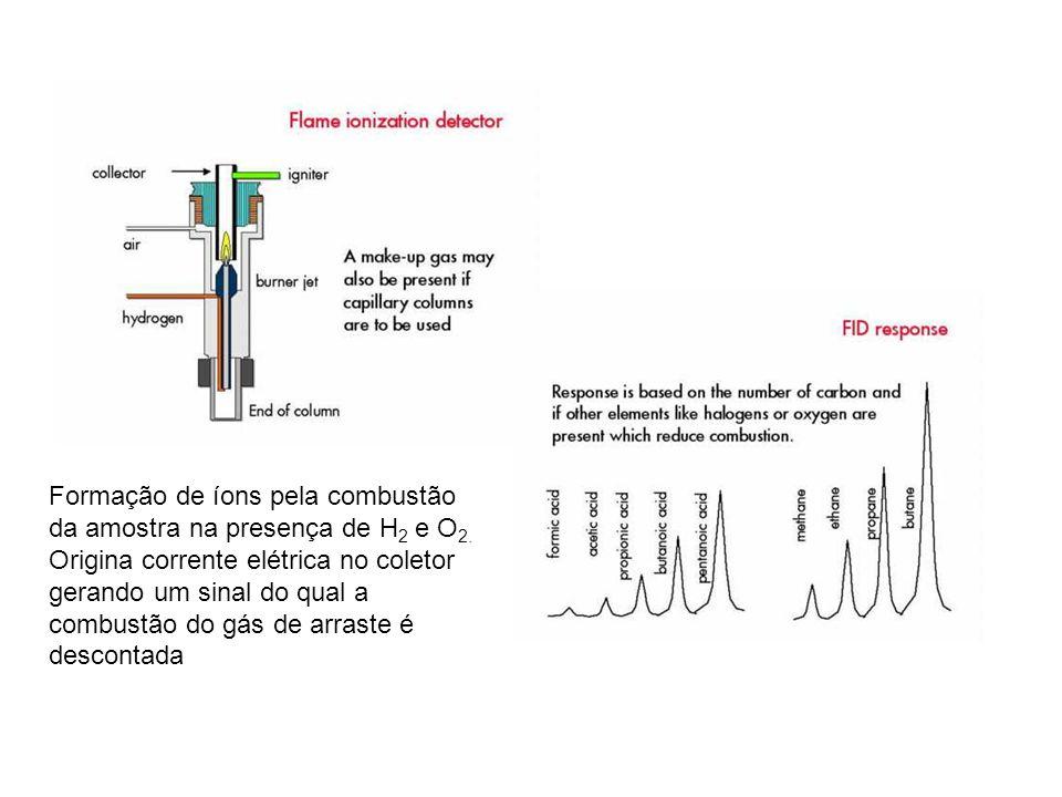 Formação de íons pela combustão da amostra na presença de H2 e O2