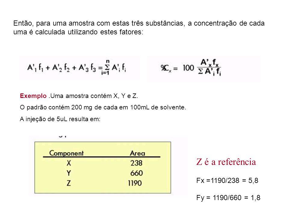 Então, para uma amostra com estas três substâncias, a concentração de cada uma é calculada utilizando estes fatores: