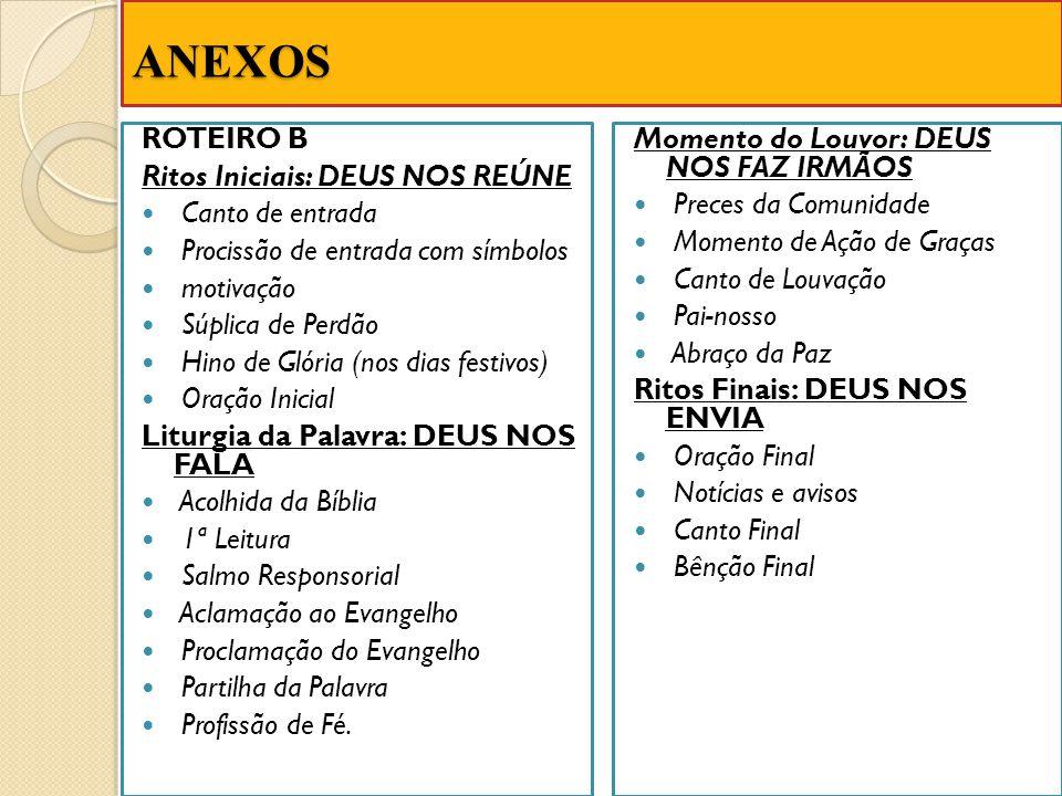 ANEXOS ROTEIRO B Ritos Iniciais: DEUS NOS REÚNE Canto de entrada