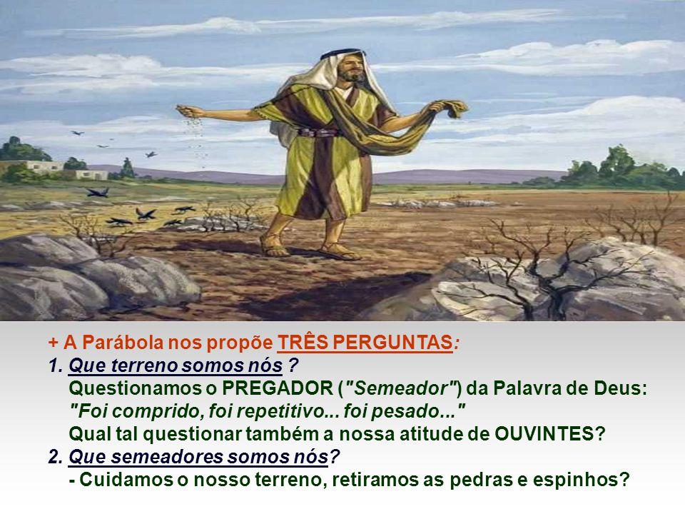 + A Parábola nos propõe TRÊS PERGUNTAS: