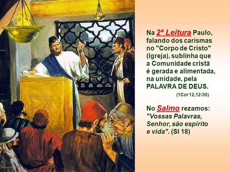 Na 2ª Leitura Paulo, falando dos carismas no Corpo de Cristo (Igreja), sublinha que a Comunidade cristã