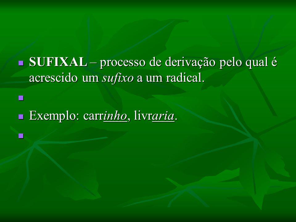 SUFIXAL – processo de derivação pelo qual é acrescido um sufixo a um radical.