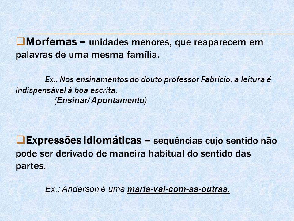 Morfemas – unidades menores, que reaparecem em palavras de uma mesma família.