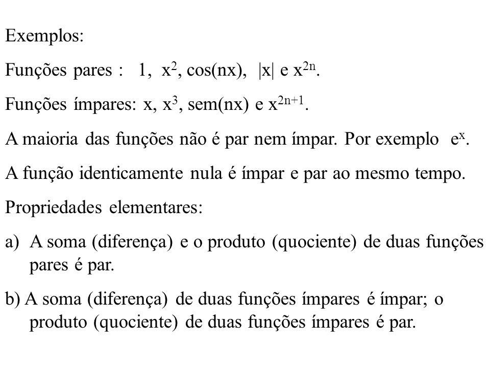 Exemplos: Funções pares : 1, x2, cos(nx), |x| e x2n. Funções ímpares: x, x3, sem(nx) e x2n+1.