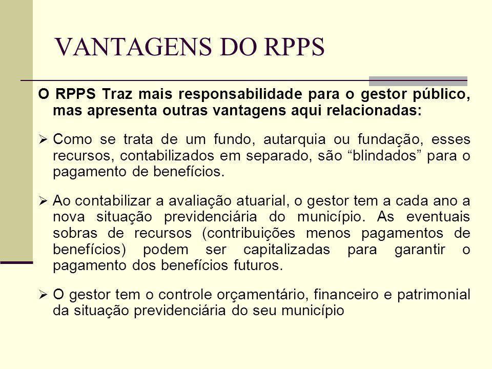 VANTAGENS DO RPPS O RPPS Traz mais responsabilidade para o gestor público, mas apresenta outras vantagens aqui relacionadas: