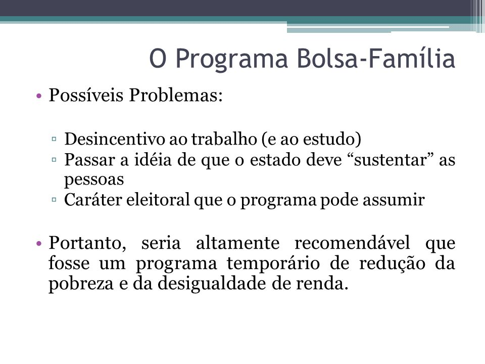 O Programa Bolsa-Família
