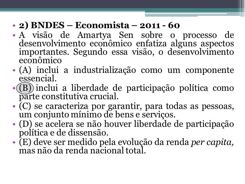 2) BNDES – Economista – 2011 - 60