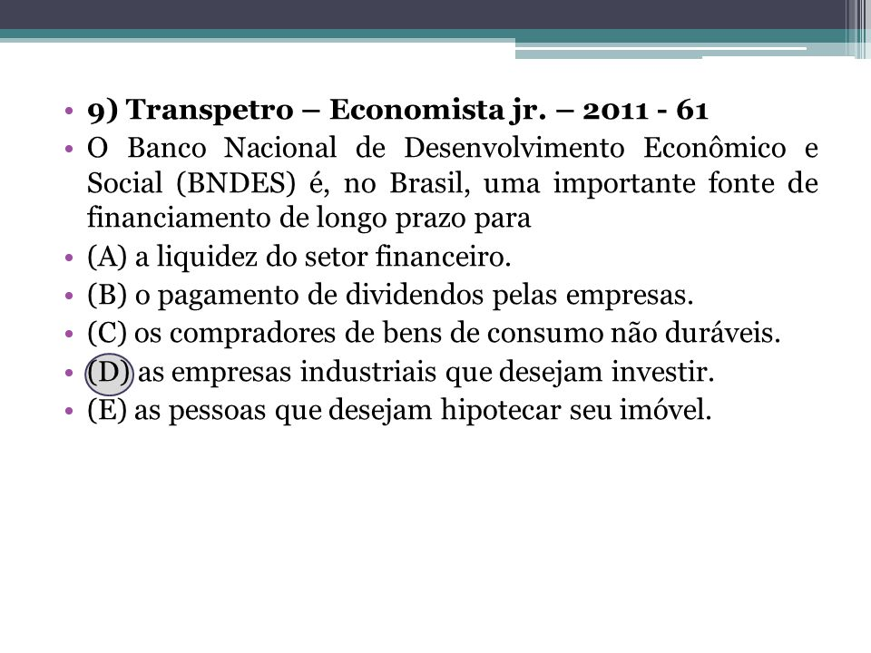9) Transpetro – Economista jr. – 2011 - 61