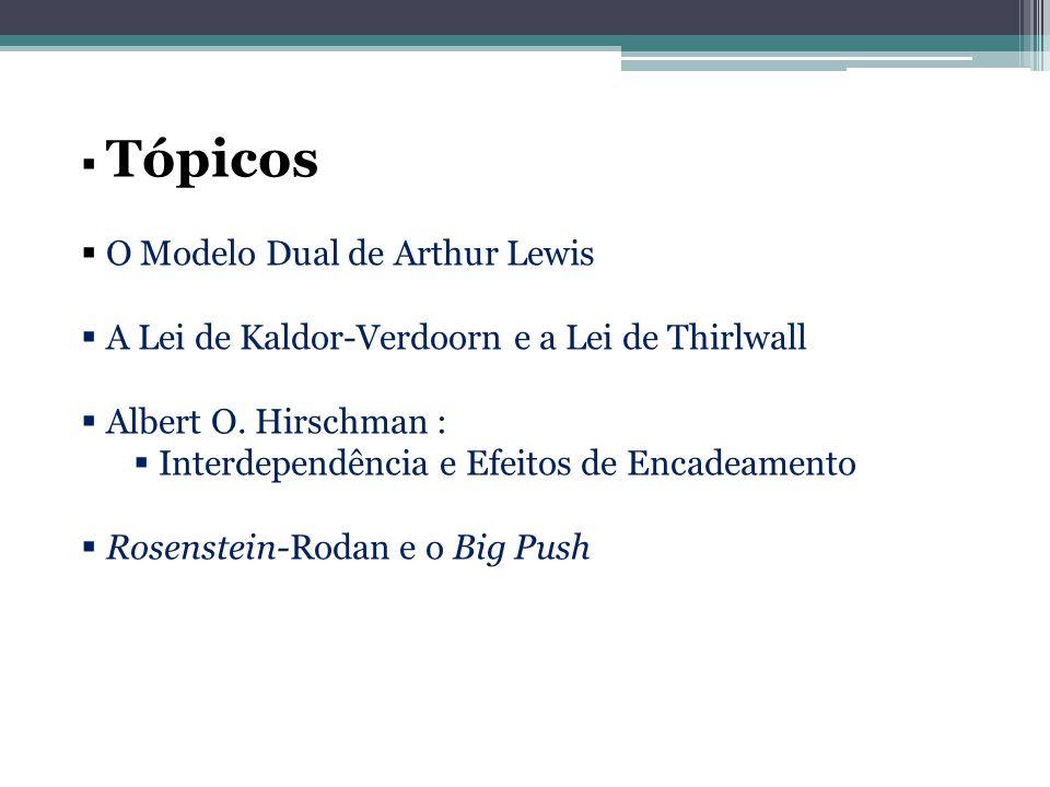 Tópicos O Modelo Dual de Arthur Lewis. A Lei de Kaldor-Verdoorn e a Lei de Thirlwall. Albert O. Hirschman :