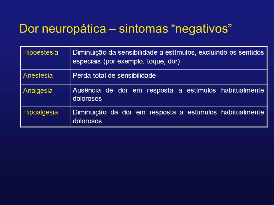 Dor neuropática – sintomas negativos