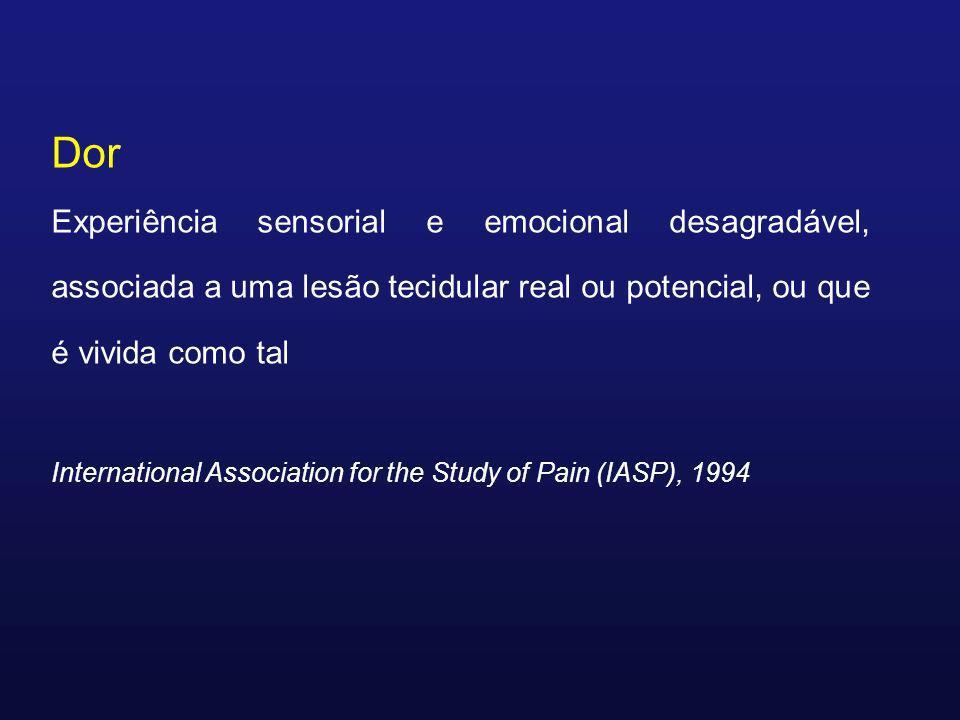 Dor Experiência sensorial e emocional desagradável, associada a uma lesão tecidular real ou potencial, ou que é vivida como tal.