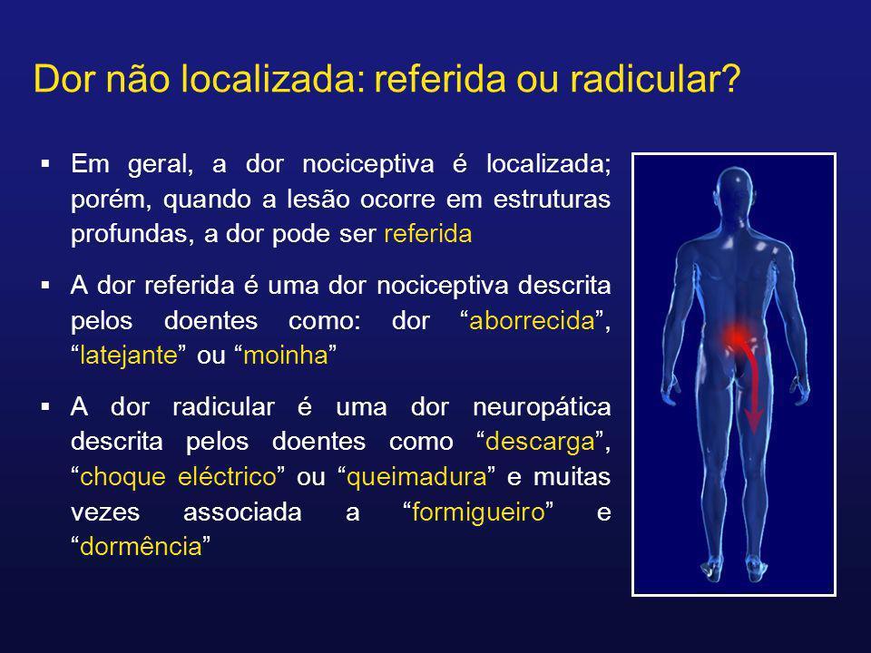 Dor não localizada: referida ou radicular