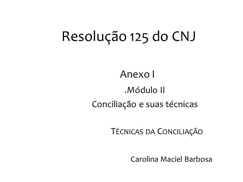 Resolução 125 do CNJ Anexo I .Módulo II Conciliação e suas técnicas