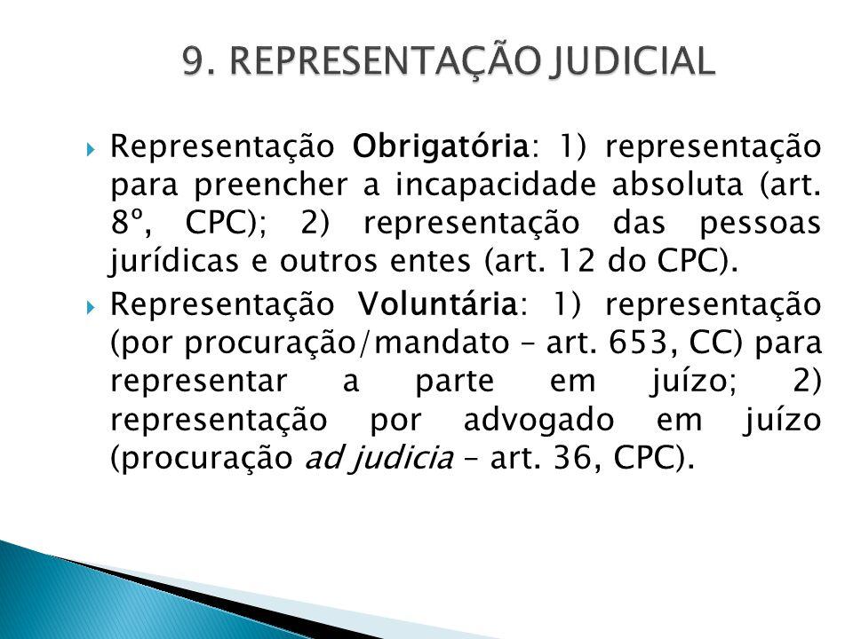 9. REPRESENTAÇÃO JUDICIAL