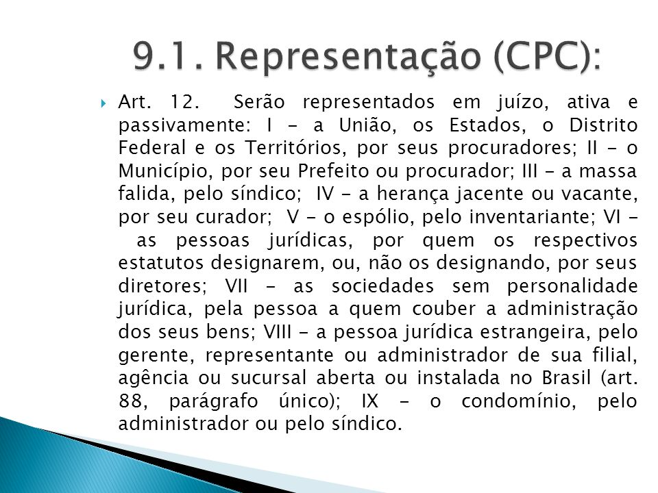 9.1. Representação (CPC):