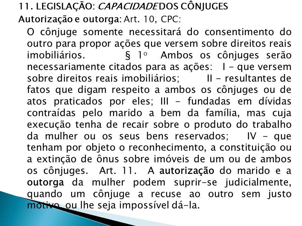 11. LEGISLAÇÃO: CAPACIDADE DOS CÔNJUGES Autorização e outorga: Art