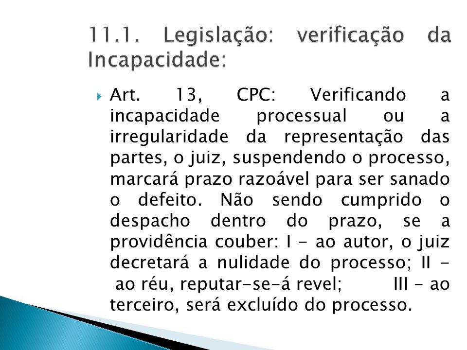 11.1. Legislação: verificação da Incapacidade: