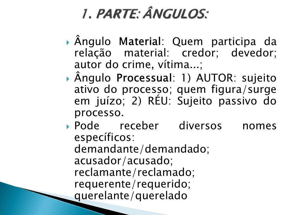 1. PARTE: ÂNGULOS: Ângulo Material: Quem participa da relação material: credor; devedor; autor do crime, vítima...;
