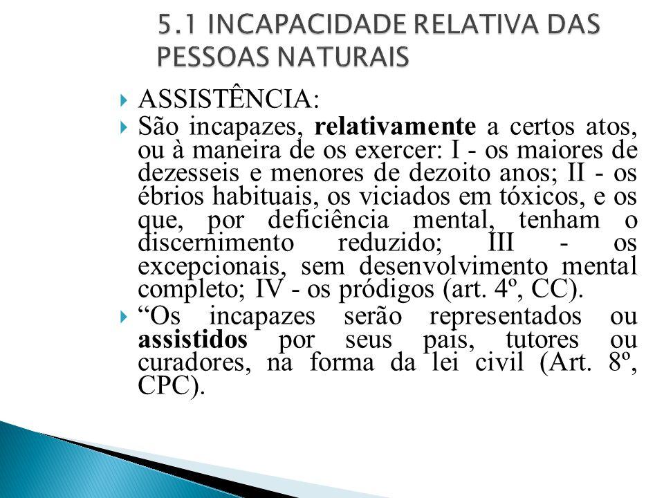 5.1 INCAPACIDADE RELATIVA DAS PESSOAS NATURAIS