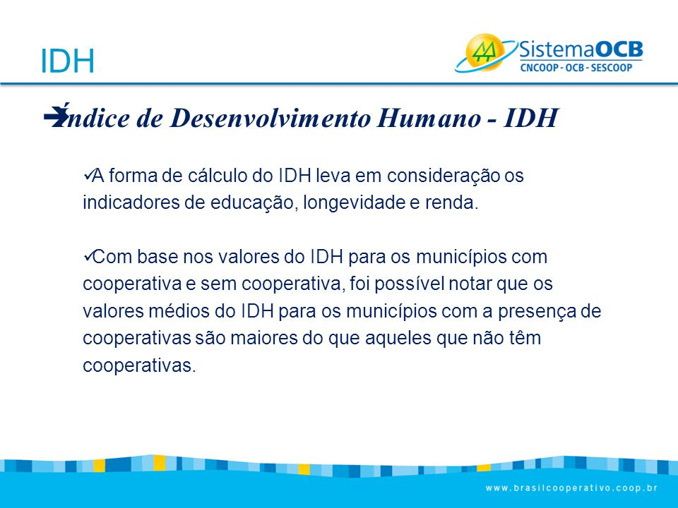 IDH Índice de Desenvolvimento Humano - IDH