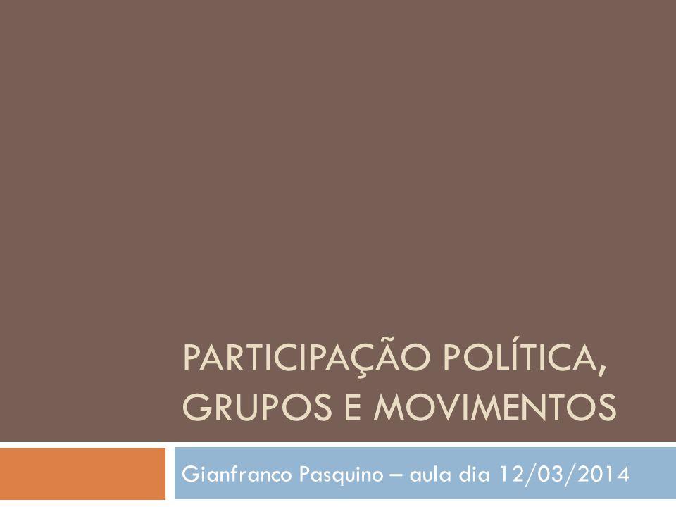 Participação política, grupos e movimentos