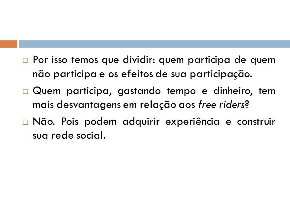 Por isso temos que dividir: quem participa de quem não participa e os efeitos de sua participação.