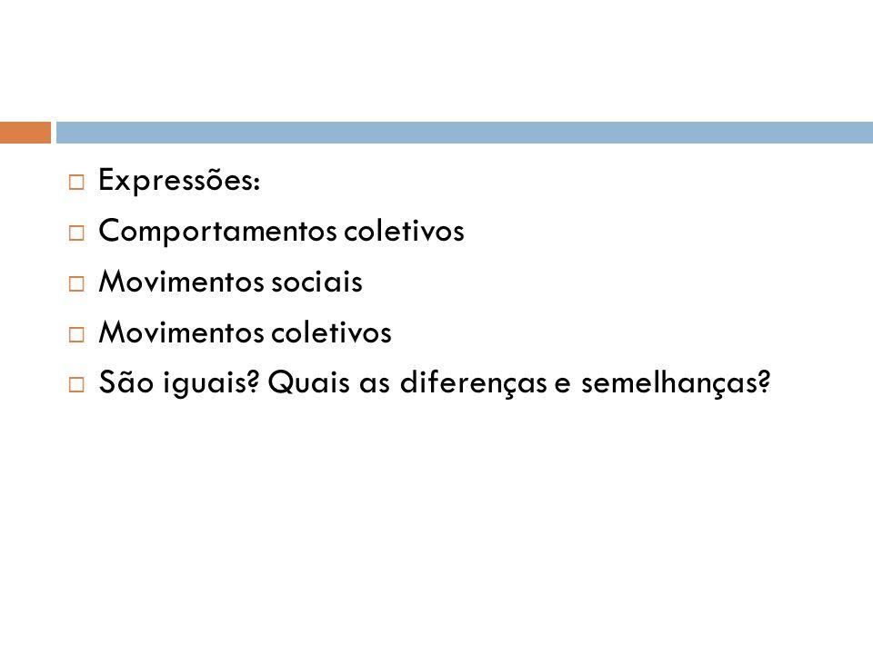 Expressões: Comportamentos coletivos. Movimentos sociais.