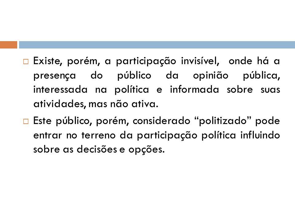 Existe, porém, a participação invisível, onde há a presença do público da opinião pública, interessada na política e informada sobre suas atividades, mas não ativa.