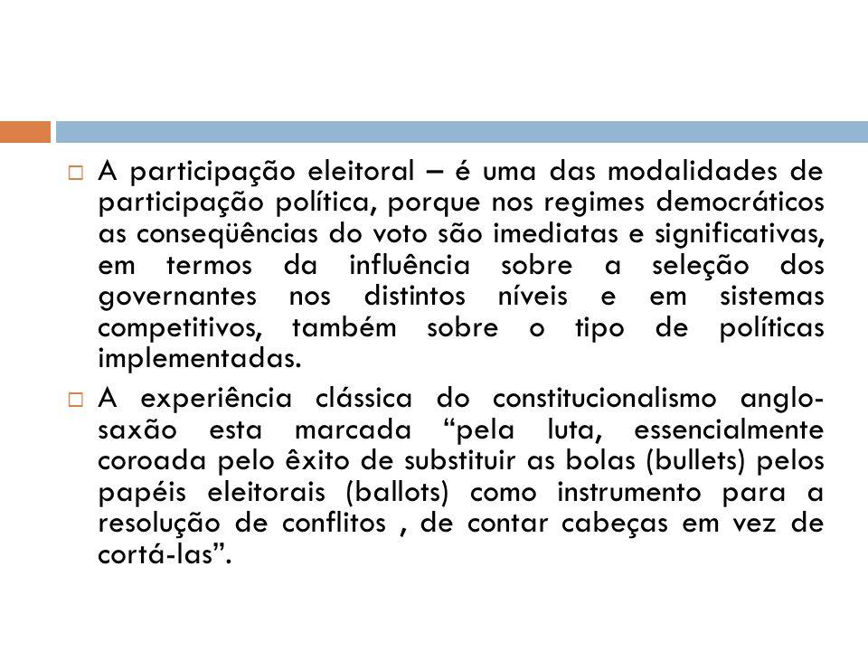 A participação eleitoral – é uma das modalidades de participação política, porque nos regimes democráticos as conseqüências do voto são imediatas e significativas, em termos da influência sobre a seleção dos governantes nos distintos níveis e em sistemas competitivos, também sobre o tipo de políticas implementadas.