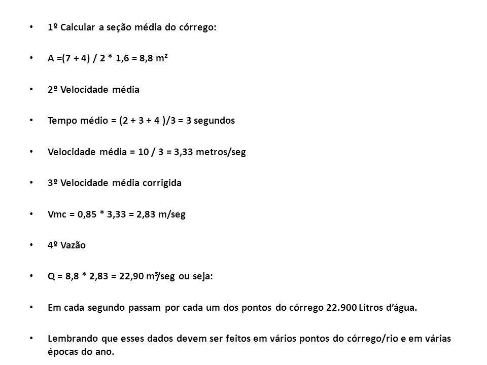 1º Calcular a seção média do córrego: