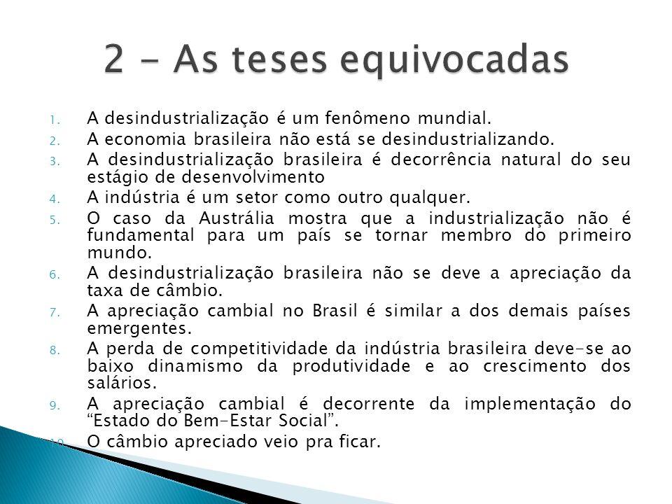 2 - As teses equivocadas A desindustrialização é um fenômeno mundial.