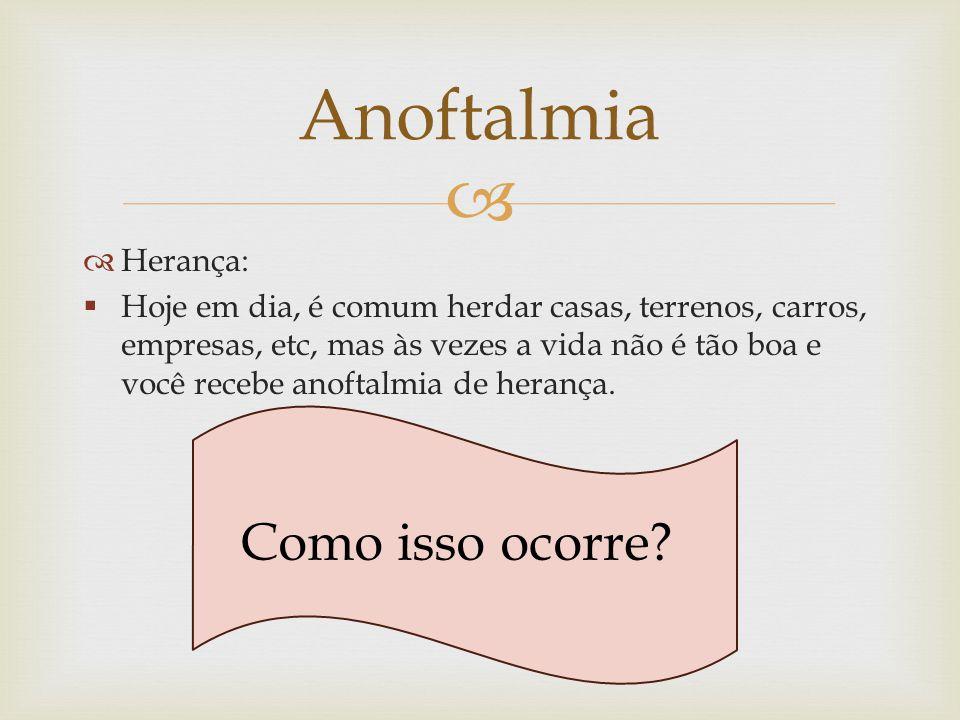 Anoftalmia Como isso ocorre Herança: